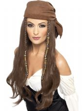 Pirate Brown Wig with Headscarf